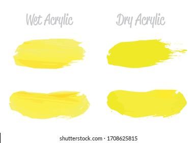 Vector yellow paint smear stroke stain set. Abstract acrylic textured art illustration. Acrilyc Texture Paint Stain Illustration. Hand drawn brush strokes vector elements. Acrilyc strokes.