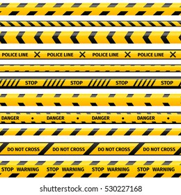 Vector yellow plastic caution tape or warning tape set. Stripe tape with world danger or police line illustration