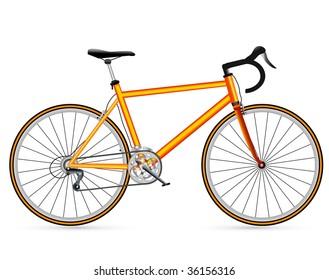 vector yellow race road bike