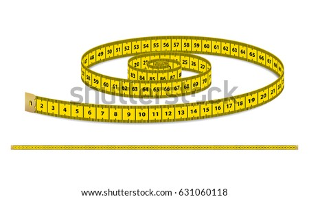 Vector Yellow Realistic Measuring Tape Strap Stock Vector (Royalty ...