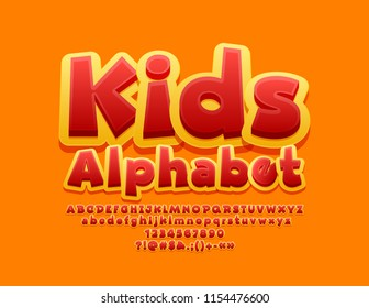 Vector Yellow and Red Alphabet. Bright 3D Font for Children.