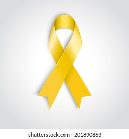 Vector Yellow ribbon - Bone cancer and troops support,   suicide prevention, adoptive parents symbol