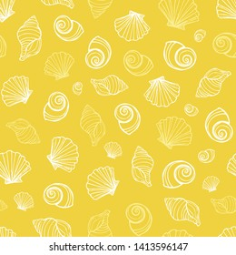 Vector yellow seashells repeat pattern. Suitable for gift wrap, textile and wallpaper.