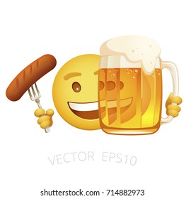 Vector yellow smiley holds a tasty grilled sausage on a fork and hides behind the mug of beer. Cheerful emoticon look out from behind a glass of golden ale. Emoji with food and drink of Oktoberfest.