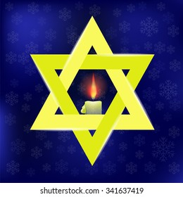 Vector Yellow Star of David and Burning Candles Isolated on Blue Snowflakes Background