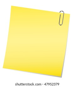 Vector yellow sticky note with paper clip