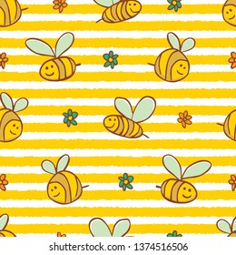 Vector yellow stripes cute bees and flowers repeat pattern. Suitable for gift wrap, textile and wallpaper. Surface pattern design.