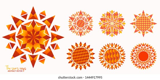 Vector. Yellow sun icon set isolated on white background. Modern simple flat sunlight, sun rays. Emblems in the shape of the sun. Trendy ethno style. Hexagon, octahedron. Simple geometric shapes.