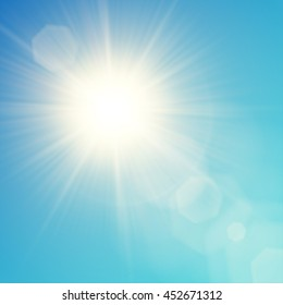 Vector yellow sun with light effects. Rays, hotspots, halo and flares on blue sky background. Contains clipping mask.