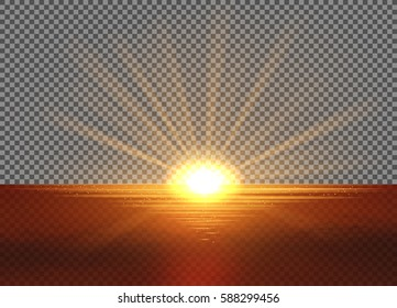 Vector yellow sun with light effects. Sun setting into the sea. Rays, hotspots, halo and flares on transparent like background. Contains clipping mask.