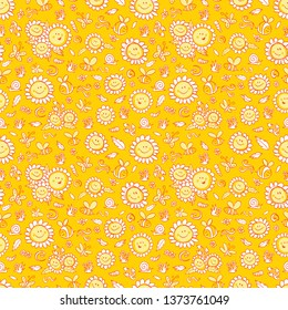 Vector yellow sunflowers and bees repeat pattern texture with orange outlines. Suitable for gift wrap, textile and wallpaper. Surface pattern design.