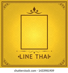 Vector yellow Thai luxury background with golden frame