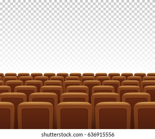 Vector yellow theatre armchairs on transparent background. Vector illustration.