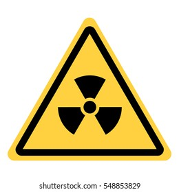 Vector yellow triangle safety with radiation symbol