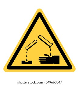 vector yellow triangle safety sign with chemical or corrosive substances