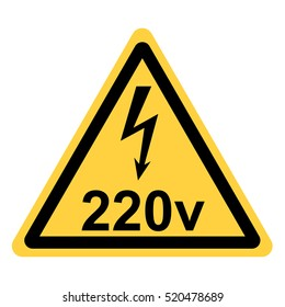 vector yellow triangle security with the sign of electricity and the reference volt
