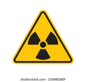 Vector yellow triangle sign - black silhouette radiation. Isolated on white background.
