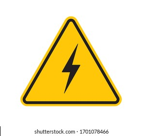 Vector yellow triangle sign - black silhouette flash. Isolated on white background.
