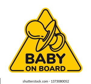 Vector yellow triangle sign with inscription Baby on board and picture dummy. Isolated white background.