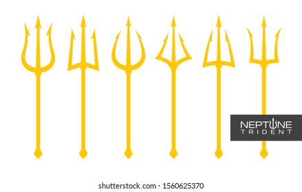 Vector yellow trident set Triton, Neptune, Poseidon. Isolated on white background.