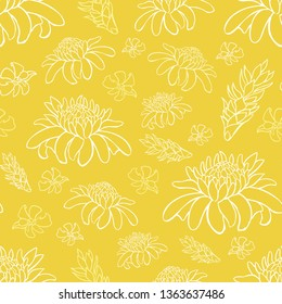 Vector yellow tropical beach resort repeat flowers pattern. Suitable for gift wrap, textile and wallpaper. Surface pattern design.