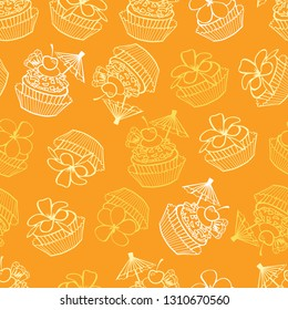 Vector yellow tropical birthday party cupcakes seamless pattern background. Perfect for fabric, scrapbooking, wallpaper projects.