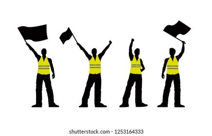 Vector yellow vest protestors illustration. Men silhouettes.