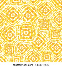 Vector yellow and white shibori diamond and squares overlap pattern. Suitable for textile, gift wrap and wallpaper.