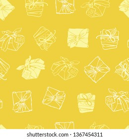 Vector yellow wrapped packages texture repeat pattern. Suitable for gift wrap, textile and wallpaper. Surface pattern design.
