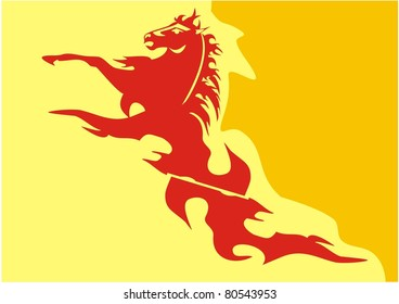 Vector yellow-orange background with a red horse