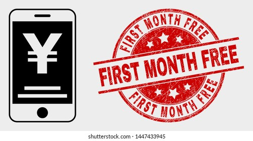 Vector yen mobile banking pictogram and First Month Free seal stamp. Red rounded distress seal stamp with First Month Free caption. Vector combination for yen mobile banking in flat style.