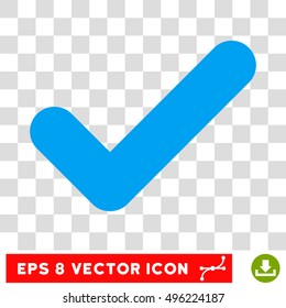 Vector Yes EPS vector pictograph. Illustration style is flat iconic blue symbol on a transparent background.