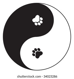 vector Yin Yang symbol with paw prints