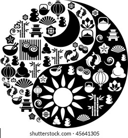 Vector Yin-Yang with collection of Zen and oriental icons