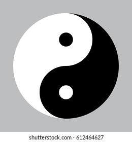 Vector yin-yang symbol without border around the edge.