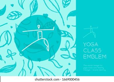 Vector yoga emblem for yoga school logo, healthy lifestyle symbol on floral pattern background. Spa centre or yoga school sign or studio. Hand-drawn Yogi icon. Yogin class. Indian philosophy symbol.