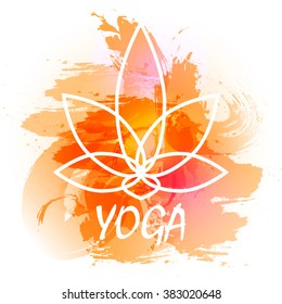 Vector yoga illustration. Yoga poster with an watercolor orange background