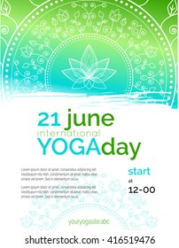 Vector yoga illustration. Template of poster for International Yoga Day. Flyer for 21 june, Yoga day. Lotus contour on ethnic pattern backdrop. Flat design. Linear illustration on gradient background.
