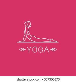 Vector yoga logo in trendy linear style - woman practicing yoga in the cobra pose - Bhujangasana