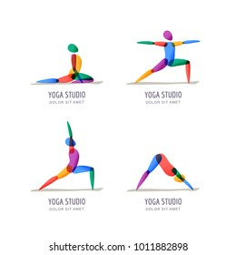 Vector yoga studio logo, emblem design template. Colorful female silhouette in different yoga poses, isolated icons set. Relax, meditation and balance training.