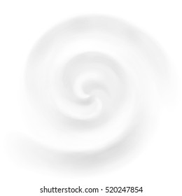 Vector yogurt or milk swirl background, white cosmetics cream product whirlpool and vortex.