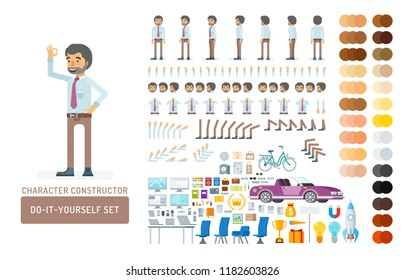 Vector young adult man in office shirt and pants do-it-yourself creation kit. Full length, gestures, emotions - all character constructor elements for building your own design