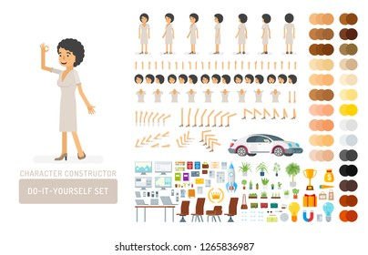 Vector young adult woman in dress do-it-yourself creation kit. Full length, gestures, emotions - all character constructor elements for building your own design for infographic illustrations.