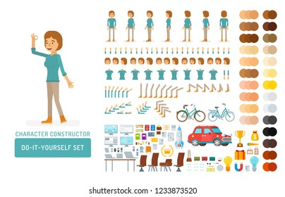 Vector young adult woman in pullover do-it-yourself creation kit. Full length, gestures, emotions - all character constructor elements for building your own design for infographic illustrations.