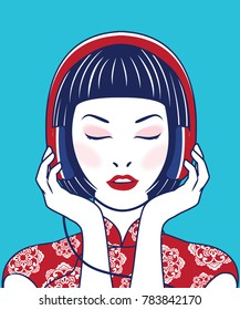 Vector young beautiful asian woman girl in casual wear relaxing and listening music headphones. Retro style.