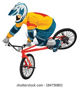 Vector young bicycle rider on a white background