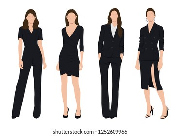 Vector of young  business woman, group of women, wearing working outfit ,standing in white background