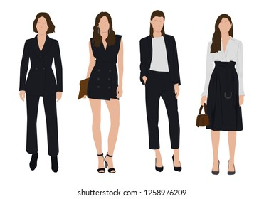 Vector of young  business woman, group of women, wearing working outfit,fashion,dress ,standing in white background