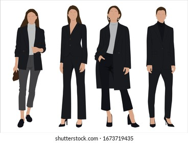 Vector of young  business women, group of women, wearing working outfit ,standing in white background