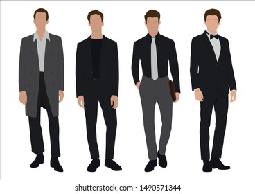 Vector of young businessman, Business people, group of men,wearing working outfit,standing in white background